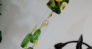 Wine bottle windchime, Green glass wind chime, Gold and Silver flowers, yard art, patio decor, bottle wind chime, hand painted chime