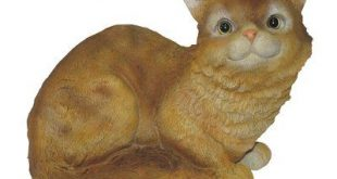 Michael Carr Crouching Cat Statue Color: Yellow, Sound: No Sound