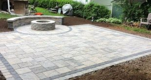 Patio and sitting wall combo completed in Meriden CT. 420 sq ft Blu Champlain Gr...