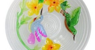 Northlight 22.5 Hummingbird and Flowers Hand Painted Glass Garden Outdoor Patio Bird Bath - Gray/Green